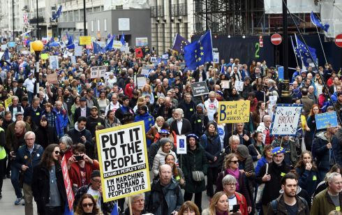 People attend the 'Put it to the People' march in London on Saturday. Photograph: Facundo Arrizabalaga/EPA