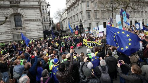 Anti-Brexit campaigners gather outside Downing Street. Photograph: Yui Mok/PA Wire