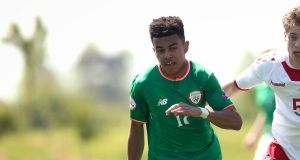 Tyreik Wright was on target for Ireland Under-19s against Azerbaijan. Photograph: Ryan Byrne/Inpho