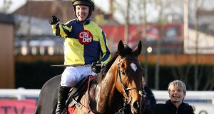 Noel Fehily acknowledges the crowd after winning his last race aboard Get In The Queue at Newbury. Photograph: Bryn Lennon/Getty Images