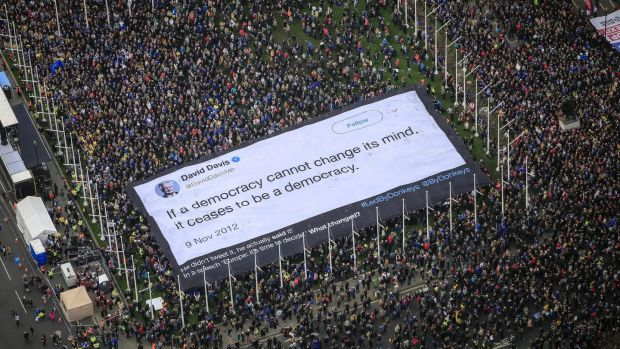 An 800sq m banner of a David Davis quote is held up in Parliament Square during a Put It To The People march in London, Britain. Photograph: Jiri Rezac/Led By Donkeys/PA Wire