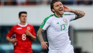 Jeff Hendrick celebrates scoring Ireland's goal in the Euro 2020 qualifier against Gibraltar at Victoria Stadium. Photograph: Ryan Byrne/Inpho