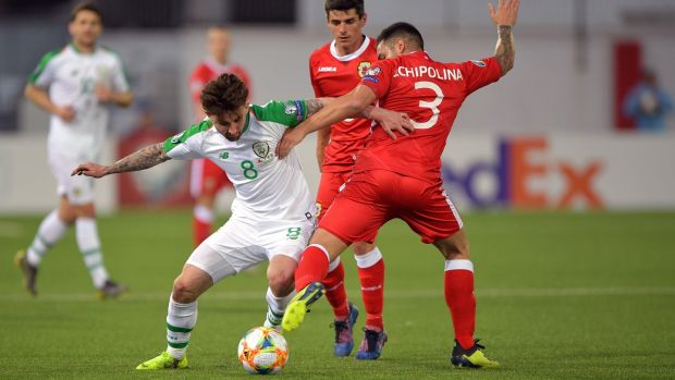 Sean Maguire in action against Gibraltar. Photograph: Simon Galloway/PA Wire.