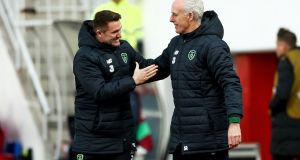 Republic of Ireland assistant coach Robbie Keane and manager Mick McCarthy celebrate Jeff Hendrick's goal in the Euro 2020 qualifier against Gibraltar at Victoria Stadium. Photograph: James Crombie/Inpho