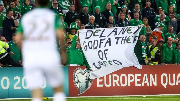Ireland fans display a banner in protest of John Delaney in Gibraltar. Photograph: James Crombie/Inpho