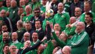 The ball goes into the Ireland supporters during the Euro  2020  qualifying match against  Gibraltar at the Victoria Stadium. Photograph: Alex Pantling/Getty Images