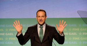 The key themes of the Fine Gael national conference - and of Taoiseach Leo Varadkar's televised speech - were decidedly domestic and there was no shortage of old-fashioned Punch and Judy-style potshots at the party's  electoral rivals. Photograph: Alan Betson/The Irish Times.