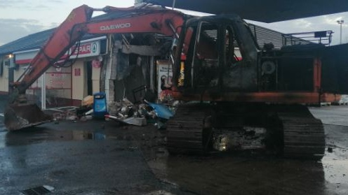 The scene at Irvinestown, Co Fermanagh, following the theft. Photograph: PSNI