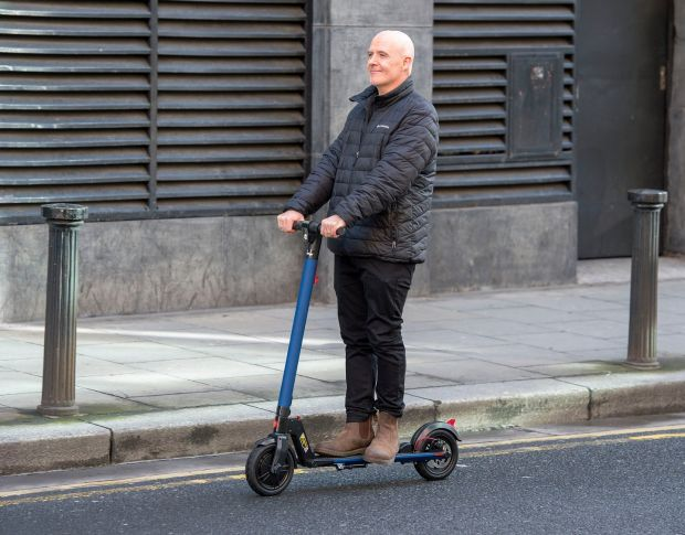 Conor Pope test drives an electric scooter in Dublin. Photograph: Dave Meehan for The Irish Times