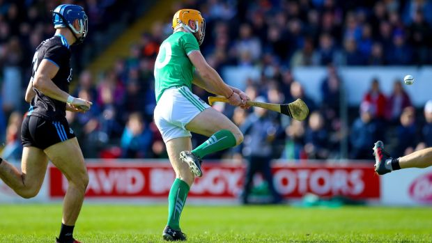 Limerick's Séamus Flanagan scores a goal during the Allianz Hurling League Division 1 semi-final against Dublin at Nowlan Park. Photograph: Tommy Dickson/Inpho