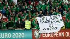 Republic of Ireland supporters with an anti-Delaney banner at the qualifier against Gibraltar at the Victoria Stadium in Gibraltar. Photograph: James Crombie/Inpho