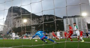 Republic of Ireland's Jeff Hendrick scoring against Gibraltar  in Saturday's  Euro  qualifier  at  Victoria Stadium, Gibraltar. Photograph:   Reuters/Peter Cziborra