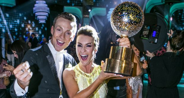 Mairead Ronan and John Nolan with the Gtitterball Trophy after winning this year's Dancing with the Stars. Photograph: Kyran O'Brien