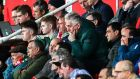 John Delaney in the stand at the Gibraltar versus Republic of Ireland game. Many questions remain about details of the former FAI CEO's long stewardship of the association. Photograph: James Crombie/Inpho