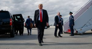 Donald Trump approaches reporters before boarding Air Force One at Palm Beach International Airport, Florida, March 24th, 2019. Photograph: Tom Brenner/The New York Times