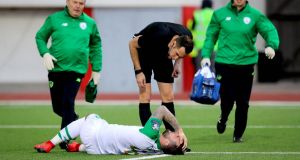 Shane Duffy receives treatment in the win over Gibraltar. Photograph: Ryan Byrne/Inpho