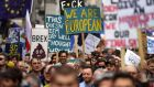 People attend the 'Put it to the People' march in TLondon, Britain, 23 March 2019. Hundreds of thousands of people take part in the protest calling for a referendum on the final Brexit deal. EPA/NEIL HALL