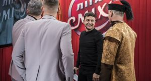 Ukrainian presidential candidate Volodymyr Zelenskiy is in the lead with an unconventional campaign. Photograph: Brendan Hoffman/Getty Images