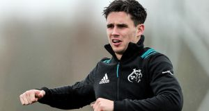 Joey Carbery: Munster outhalf is expected to  be fit  to renew his partnership with scrumhalf Conor Murray against Edinburgh. Photograph: Laszlo Geczo/Inpho