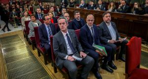 Catalan independence leaders  at the start of their trial at the supreme court in Madrid on February 12th. Photograph: Emilio Naranjo/Reuters