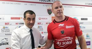 Paul O'Connell with Mourad Boudjellal after signing for Toulon as a player in 2015. Photograph: RC Toulon/Inpho