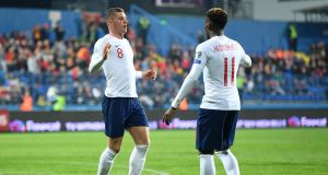 Ross Barkley celebrates his opening goal with Callum Hudson-Odoi. Photograph: Michael Regan/Getty