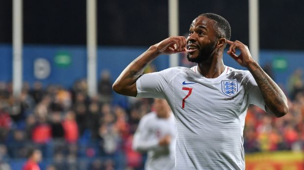 Raheem Sterling scored England's fifth in their win over Montenegro. Photograph: Andrej Isakovic/AFP/Getty