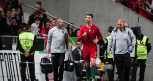 Cristiano Ronaldo was forced off during Portugal's draw with Serbia. Photograph: Mario Cruz/EPA