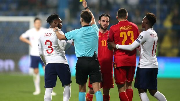 Tempers flare at the end of England's 5-1 win over Montenegro. Photograph: Nick Potta/PA