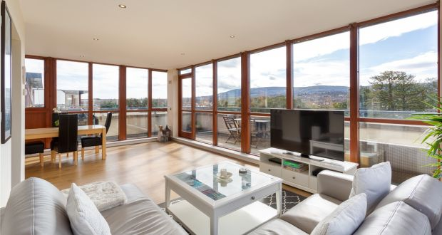 304 Mother Theresa House, a penthouse apartment in Rathfarnham, features floor-to-ceiling windows in the  livingroom