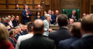 Britain's prime minister Theresa May making a statement in the House of Commons. Photograph: Mark Duffy/UK Parliament/AFP/Getty Images