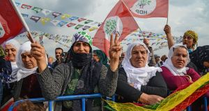 Supporters of the Kurdish Peoples' Democratic Party (HDP) at an election campain rally  in Batman, south east Turkey, on March 12th. Photograph:  Ilyas Akengin/AFP/Getty Images