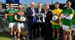 In attendance at the 2019 Allianz Football League Finals preview are from left, Paul Murphy of Kerry, Chris Barrett of Mayo, Uachtarán Chumann Lúthchleas Gael John Horan, Sean McGrath, CEO, Allianz Ireland, Damien O'Neill, Head of Marketing Operations, Allianz Ireland, Stephen McMenamin of Donegal and Shane McEntee of Meath at Croke Park in Dublin. Photo: Brendan Moran/Sportsfile