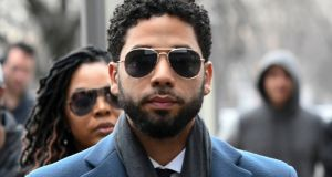 Jussie Smollett at the Leighton Criminal Court Building for his hearing in Chicago. Photograph: Matt Marton/AP Photo