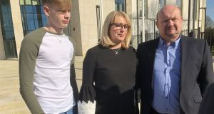 Family members of the late Katie Murphy outside Waterford courthouse after Edward O'Shea was sentenced to 14 months in prison include  her brother Scott, mother Vivienne   and father Hilary.