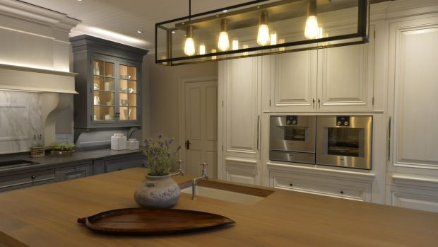 Display kitchen at the Andrew Ryan showroom. Photograph: Alan Betson