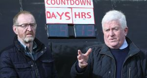 Members of Border Communities Against Brexit unveil a Brexit countdown clock at Jonesborough, on the Border between Dundalk and Newry. Photograph: Niall Carson/PA Wire