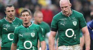 Ireland's Ronan O'Gara and Paul O'Connell after a Six Nations match against France at Stade de France, Paris in April 2012.  Photograph: Billy Stickland/Inpho