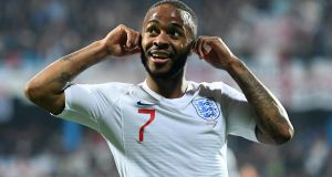Raheem Sterling reacts to the racist chanting from Montenegro fans after scoring England's fifth goal at Podgorica City  Stadium on  Monday night. Photograph:  Michael Regan/Getty Images