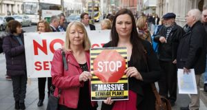 Bette Browne from Malahide, and Sabrina Joyce Kemper from Portmarnock, protesting outside previous  An Bord Pleanala hearing on plans for the  Clonshaugh sewage plant. Photograph: Fran Veale