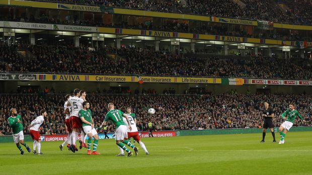 Conor Hourihane scores Ireland's winner against Georgia. Photograph: Catherine Ivill/Getty