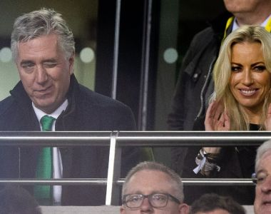 FAI executive vice-president John Delaney and Emma English in the stands during Ireland's Euro 2020 qualifying win over Georgia. Photo: Tom Honan/The Irish Times.