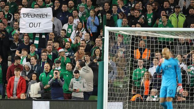 Fans protest during Ireland's 1-0 win at the Aviva Stadium. Photograph: Catherine Ivill/Getty