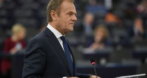 President of the European Council, Donald Tusk,  at the European Parliament in Strasbourg, France on March 27th, 2019. Photograph: Patrick Seeger/EPA