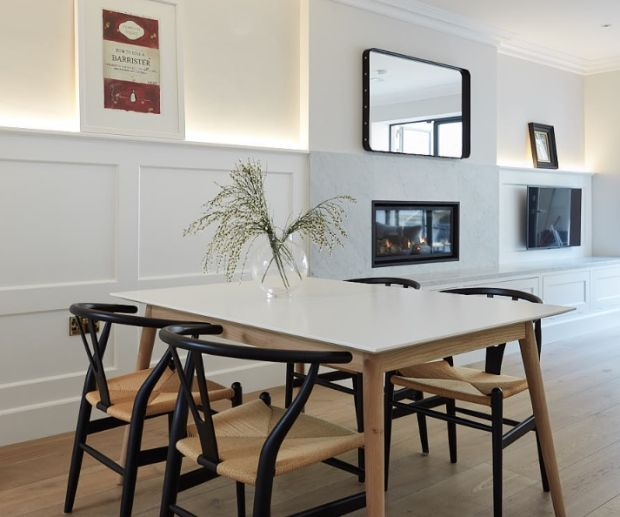 The kitchen in the basement has chairs from CA Design and a dining table from Bo Concept. Photograph: Philip Lauterbach