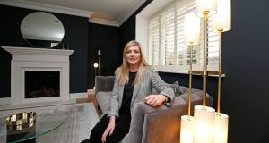 Interior designer Jane Higgins in a new build house that she has recently decorated for a client. Photograph: Nick Bradshaw/The Irish Times