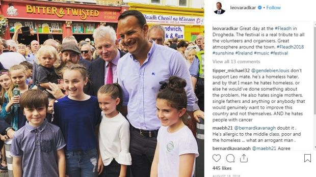 Instagram: one of Leo Varadkar's posts, from Fleadh 2018