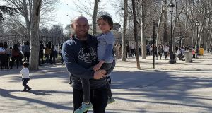 JJ Keaney with his son in Madrid, where he has lived since 2007.