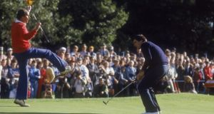 Spanish golfer Severiano Ballesteros during the World Matchplay Championship at Wentworth in 1984. His brother Vicente is acting as his caddy. Photograph: David Cannon/Getty Images