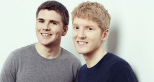 Stripe founders John and Patrick Collison. The company was earlier this year valued  at  €19.9 billion